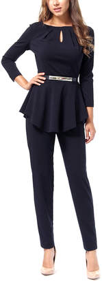 LADA LUCCI Women's Dress Pants Navy - Black Keyhole Peplum Top & Pants - Women & Plus