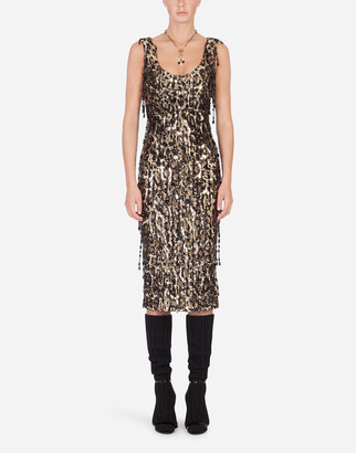 Dolce & Gabbana Sheath Dress With Leopard-Look Sequin Embellishment