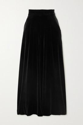 Loretta Caponi Sabrina Stretch-velvet Wide-leg Pants - Black