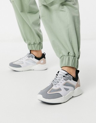ASOS DESIGN Dominican chunky sneakers in gray peach and white