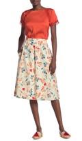 Donna Karan Elastic Waist Flare Printed Skirt