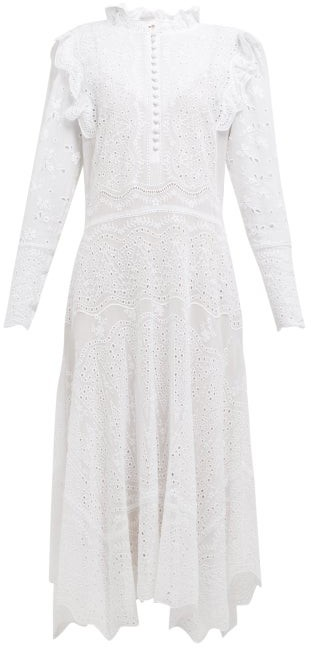 Rebecca Taylor Livy Broderie Anglaise Cotton Blend Dress - Womens - White