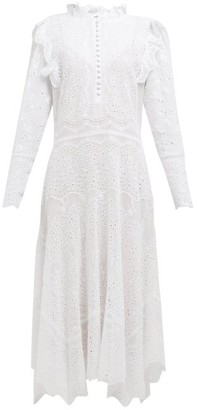 Rebecca Taylor Livy Broderie-anglaise Cotton-blend Dress - Womens - White