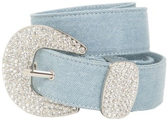 B-Low the Belt 40mm Cotton Denim Belt W/crystal Buckle