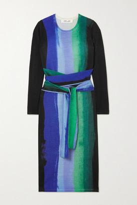 Diane von Furstenberg Gabel Belted Striped Merino Wool Dress - Black