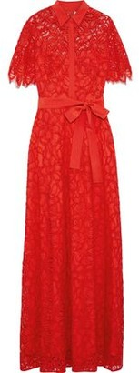 Lela Rose Belted Crepe De Chine-trimmed Corded Lace Gown