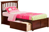 Atlantic Mission Walnut Twin Flat Panel Foot Board Bed with Two Urban Bed Drawers