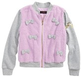 Juicy Couture Girl's Mixed Media Bomber Jacket