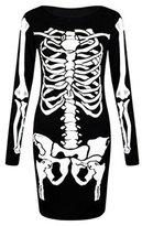 Fashion essentials- Womens Skeleton Print Halloween Bodysuit Midi Legging (4-6, )