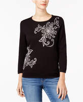 Alfred Dunner Talk Of The Town Embellished 3/4-Sleeve Sweater