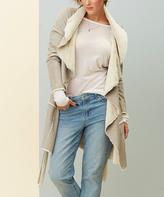 Paparazzi Gray Faux Fur-Detail Tie-Waist Coat