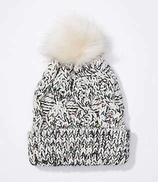 LOFT Marled Cable Faux Fur Pom Pom Hat