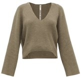 Petar Petrov Keeene V-neck Cropped Cashmere Sweater - Womens - Light Grey