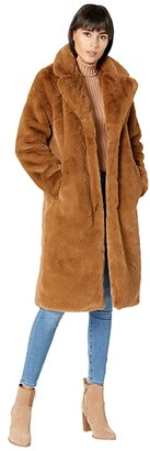 Apparis Siena Slimmer Fit Long Faux Fur Coat (Camel) Women's Clothing