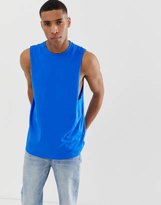 Asos Design DESIGN organic relaxed sleeveless t-shirt with crew neck and dropped armhole in blue
