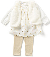 Starting Out Baby Girls 3-24 Months 3-Piece Faux-Fur Vest, Metallic Dotted Chiffon Top, and Leggings Set