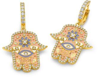 BUDDHA MAMA 20kt yellow gold diamond Hamsa huggie earrings
