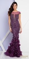 Terani Couture Rhinestone Embellished Illusion Applique Trumpet Evening Dress