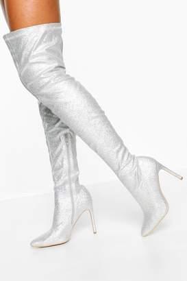 boohoo Glitter Stiletto Heel Over The Knee Boots