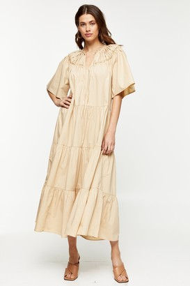 Topshop Womens Sand Poplin Smock Midi Dress - Sand