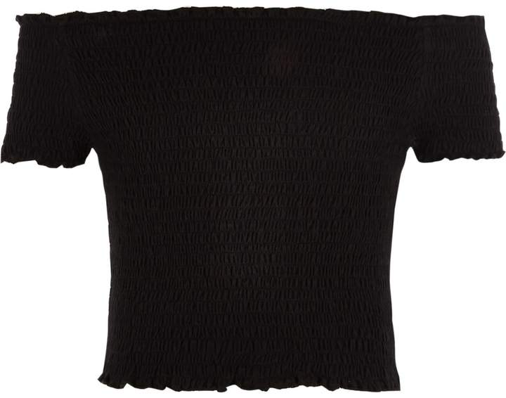River Island Girls Black shirred bardot top