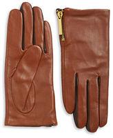 Michael Kors Zip Cuff Leather Gloves
