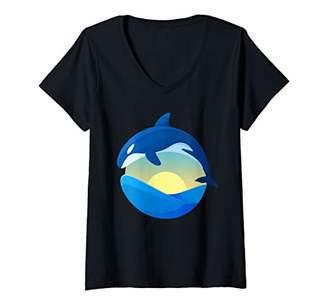 Womens Orcas Killer Whale jumping over Ocean Waves T-shirt V-Neck T-Shirt