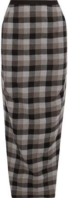 Rick Owens Dirt Split-side Checked Wool-twill Maxi Skirt