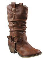 Refresh Women's Wild-2 Mid Calf Western Style Cowboy Boots Color Tan