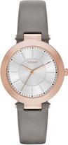 DKNY Stanhope Grey Leather Watch