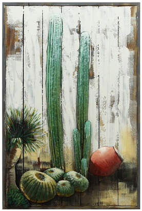 """Empire Art Direct 'Cacti' Metallic Handed Painted Rugged Wooden Blocks Wall Sculpture - 36"""" x 24"""""""