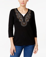 Karen Scott Embroidered Top, Only at Macy's