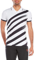 Emporio Armani Diagonal Brush Stripe Tech Polo