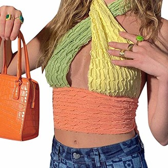 Fasbb Women Halter Sling Tanks Vest Color Block V-Neck Hollow Chest Backless Sleeveless Knitted Crop TopsSlim Sexy Summer Clothing (Colorful L)