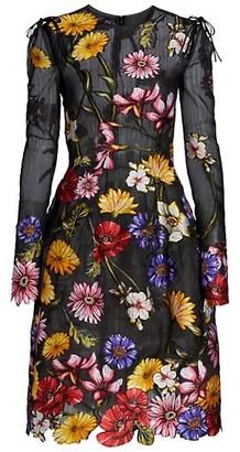 Oscar de la Renta Floral Embroidered Cocktail Dress