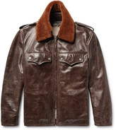 Calvin Klein Shearling-trimmed Distressed Leather Jacket - Dark brown