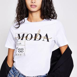 River Island White 'Moda' printed T-shirt
