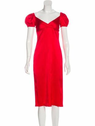 Alexis Silk Midi Length Dress w/ Tags Red