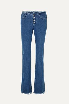 Marques Almeida Marques' Almeida - 7 For All Mankind Frayed Mid-rise Bootcut Jeans - Mid denim