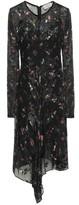 Preen by Thornton Bregazzi Sally Asymmetric Floral-print Devore Silk-blend Dress