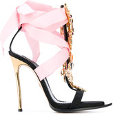 DSQUARED2 charm embellished ribbon sandals - women - Cotton/Leather - 36