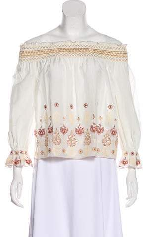 Rachel Zoe Embroidered Off-The-Shoulder Blouse w/ Tags