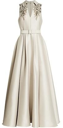Badgley Mischka Embellished Sleeveless Gown