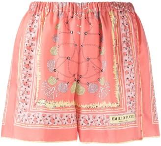 Emilio Pucci Shell-Print Silk Shorts
