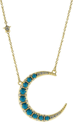 Monica Rich Kosann Turquoise Diamond Crescent Moon Necklace
