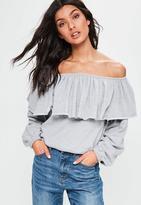 Missguided Frill Bardot Sweatshirt