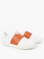 Valentino White Contrast Stripe Leather Sneakers