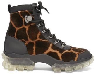Moncler Helis Giraffe-print Velvet Hiking Boots - Leopard