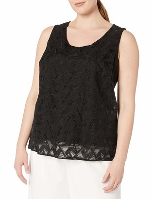 Calvin Klein Women's Plus-Size S/L Embroidered Top