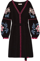 Tory Burch Therese Embroidered Cotton Mini Dress - Black